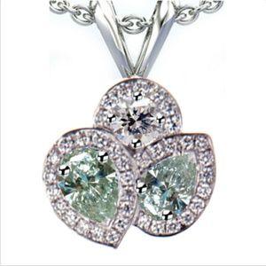 3.10CT VVS1 BLUE REAL MOISSANITE Diamond Pedant